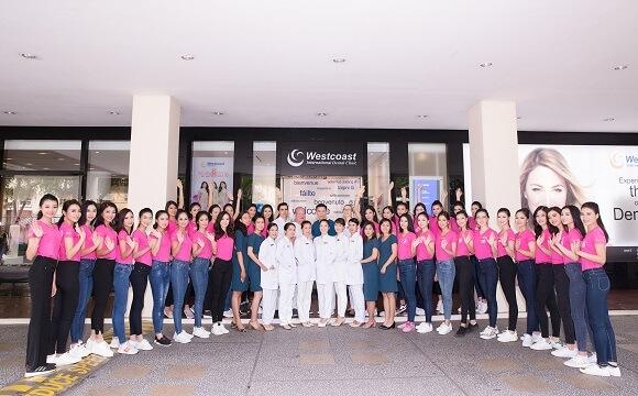 Tập thể thí sinh Hoa hậu cùng đội ngũ nhân viên Nha khoa Westcoast
